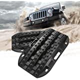 BUNKER INDUST Off-Road Traction Boards, 2 Pcs Recovery Tracks Traction Mat for 4X4 Jeep Mud, Sand, Snow Traction Ladder-Black