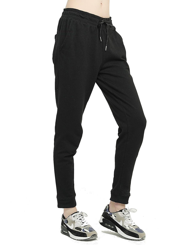 T-INSIDE Pantalon de Jogging Femme Coton avec Cordon de Serrage Grande Taille Haute en Maille Yoga Gym