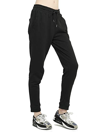 0b2e8ee42b T-INSIDE Women's Sweatpants with Pockets - Yoga Leisure Gray & Black Cotton  Joggers Loose Active Pants for Sports