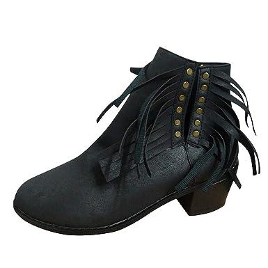 ZARLLE Botines Mujer Tacon Alto,Moda Botines de Remache,Zapatos de ...