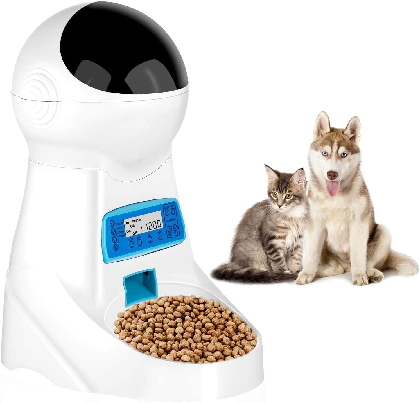 Automatic Cat Feeder Pet Dog Food Dispenser Feeder for Small Medium Large Cat Dog-4 Meal Timer Programmable Voice Recorder Portion Control