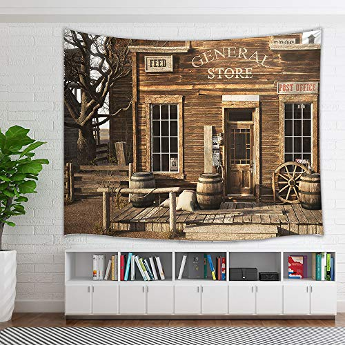 (NYMB Western Cowboy Farmhouse Tapestry, Rustic Wooden Store in Rural Town Tapestry Wall Hangings, Galaxy Wall Art for Bedroom Living Room Collage Dorm Home Decor Bedspread, 60