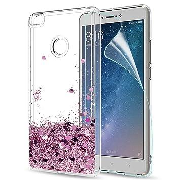 LeYi Funda Xiaomi Mi MAX 2 Silicona Purpurina Carcasa con HD Protectores de Pantalla,Transparente Cristal Bumper Telefono Gel TPU Fundas Case Cover ...