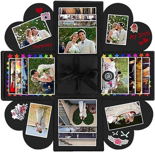 Caja de sorpresa creativa, caja sorpresa, álbum de fotos plegable DIY, álbum de fotos hecho a mano, caja de regalo para aniversario, San Valentín, boda, día de la madre, cumpleaños, Navidad (negro):