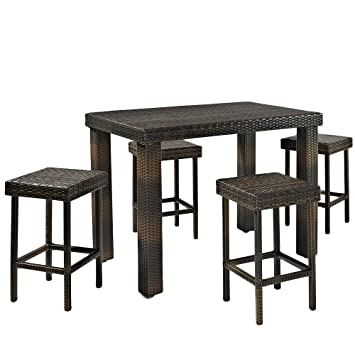 Crosley Furniture Palm Harbor 5 Piece Outdoor Wicker High Dining Set with  Table and FourAmazon com   Crosley Furniture Palm Harbor 5 Piece Outdoor Wicker  . High Dining Outdoor Tables. Home Design Ideas