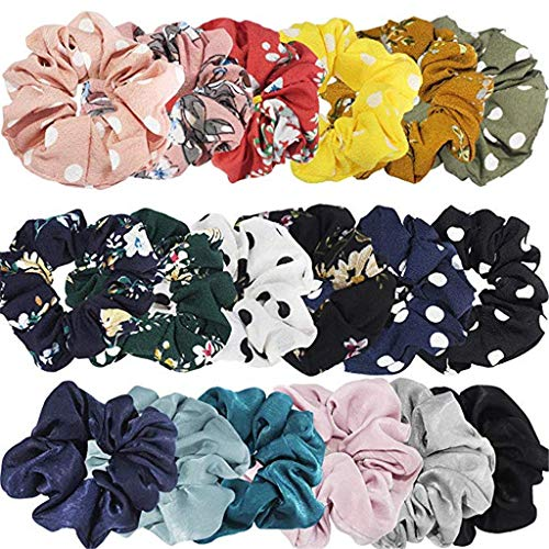 m·kvfa Hair Chiffon Elastics Hair Ties 18 Style Bright Colorful Bobbles Bands Women Scrunchies Flower Scrunchy Hair Bands Ropes Hair Bow Chiffon Ponytail Holder for Adult