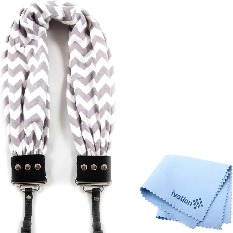 Capturing Couture Grey /& White Chevron Scarf Camera Strap and a Bonus Ivation Spot Cleaning Cloth