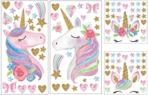 OBANGONG 4 Sheets Unicorn Wall Decal Stickers,Large Size Unicorn Wall Decor with Heart and Stars for Girls Kids Bedroom Nursery Christmas Birthday Party Decoration
