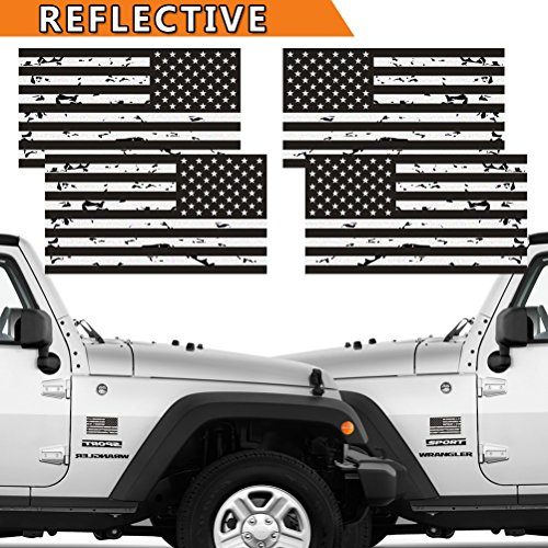 (Reflective 2 Pairs Subdued Tattered Reverse Forward American Flag Sticker 2.7