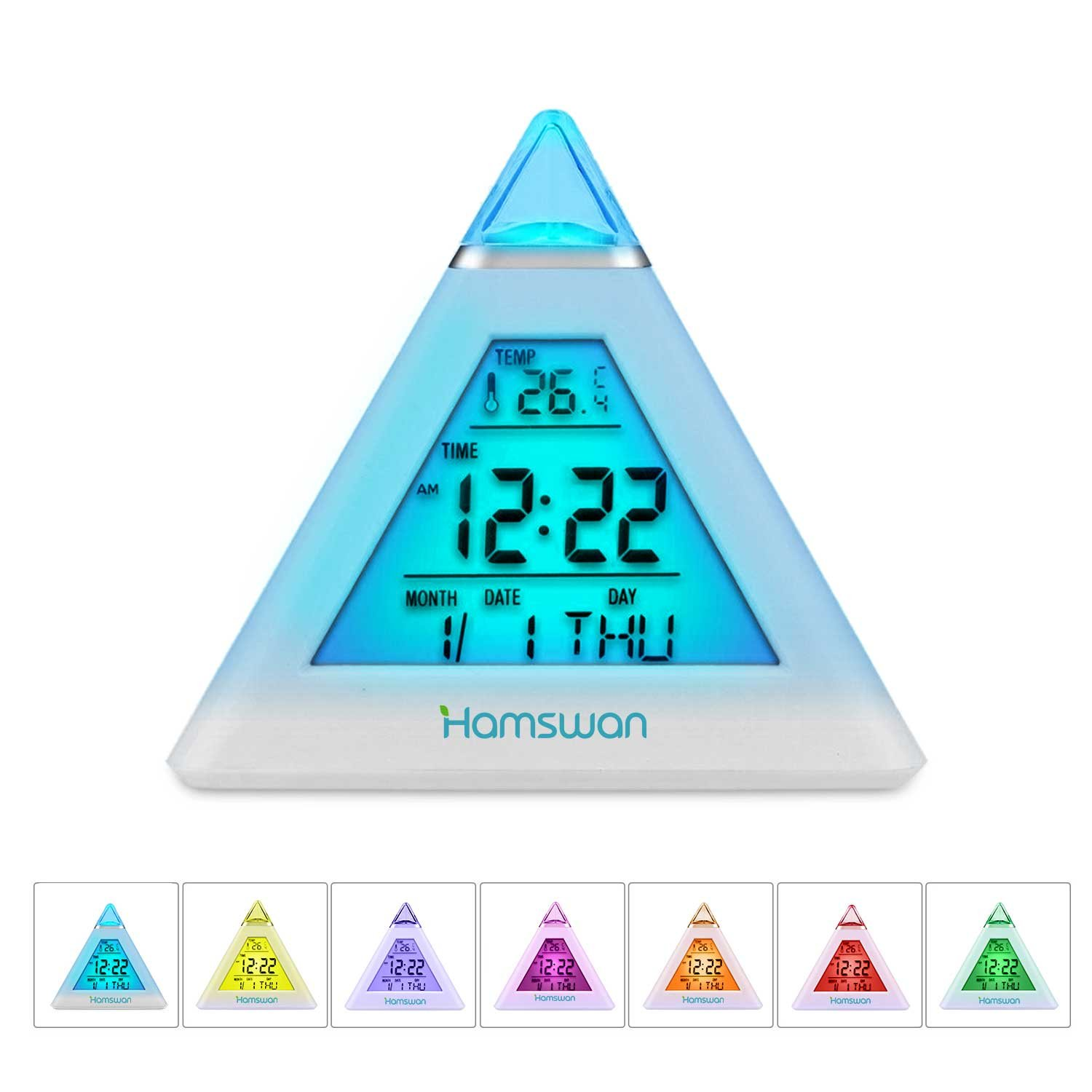 HAMSWAN Simple Digital Alarm Clock, Desk Bedside Clocks 7 LED Color Change Pyramid with Temperature, Alarm and Sleeping Function for Kids