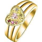 Quiges Damen Personalisiert Gravur Name Solitär Herz Ring My Creation 925 Sterlingsilber CZ Birthstone verschiedene Farben und Ringgrößen