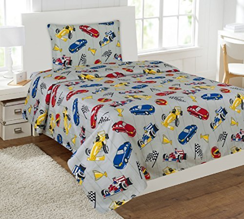 (Kids printed sheet set: Flat & fitted sheets with pillow cases. Choose from butterfly, Dinosaur, Shark, Princess, sports, sailor prints Twin or Full (Twin, Race Car))
