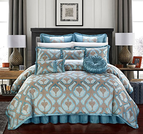 - Chic Home Jodamo 9 Piece Comforter Set Jacquard Scroll Faux Silk Bedding with Pleated Flange - Bed Skirt Decorative Pillows Shams Included King Blue