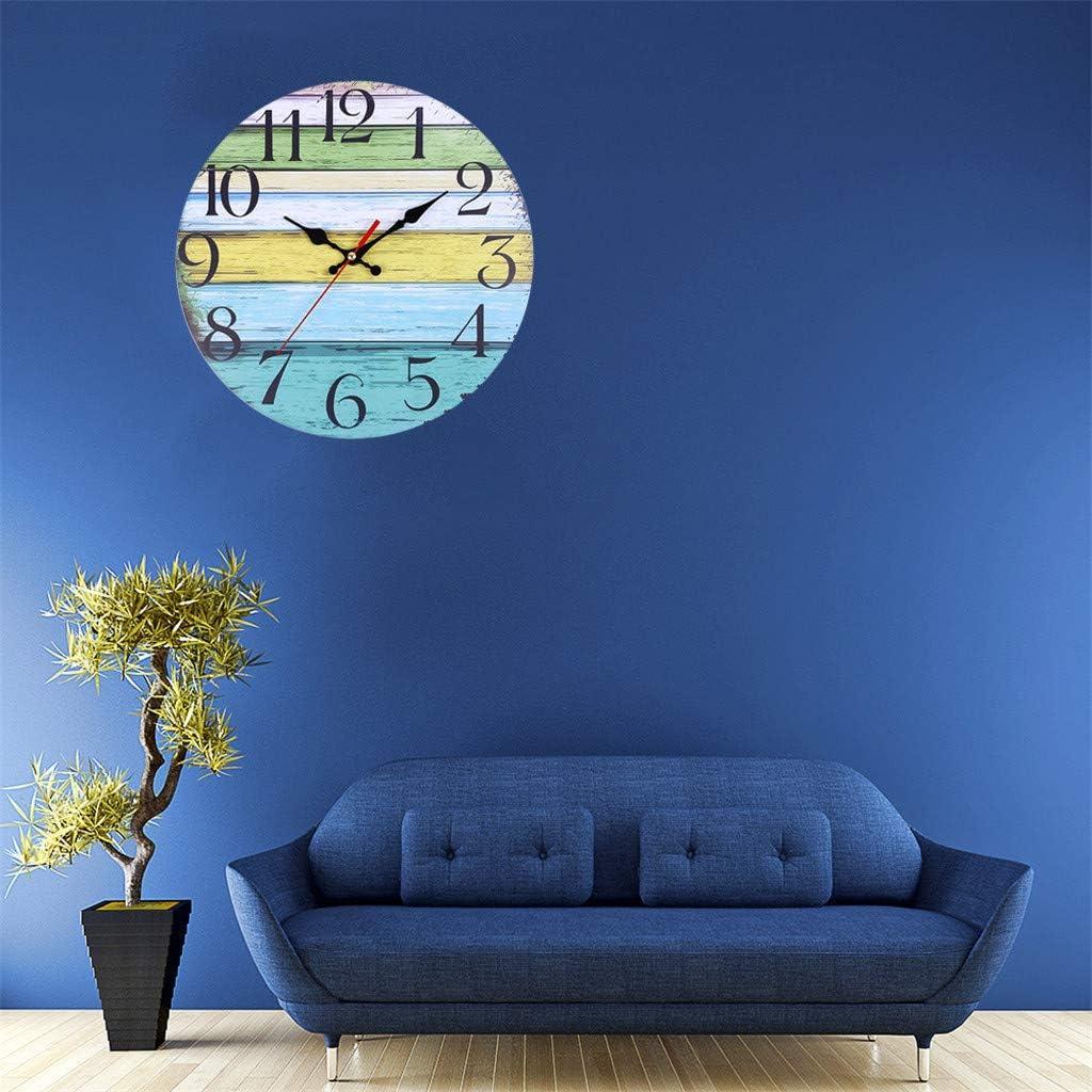 chenJBO Retro Wooden Wall Clock Farmhouse Decor Silent Non Ticking Wall Clocks Decorative Quartz Battery Operated