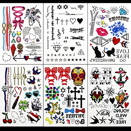 GIFT!!Tastto 6 Sheets Bright Colorful Hand Drawn Body Paints Temporary Tattoos Remix Stickers Set for all Ages with (Hippie Tattoo Designs)