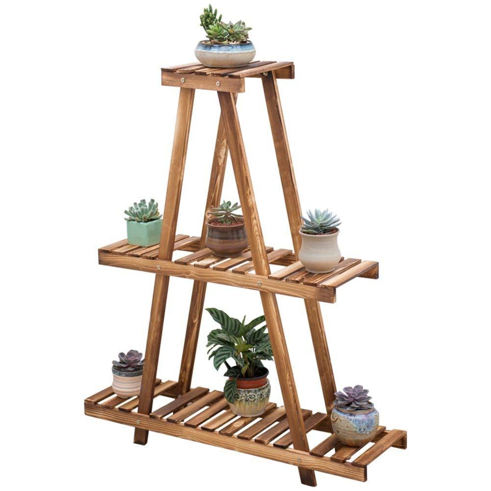 GYAO-Scaffali porta piante Pieghevole Flower Frame Garden Meaty Solid Wood Legno Multistrato Floor Stand Soggiorno Balcone Flower Shelf