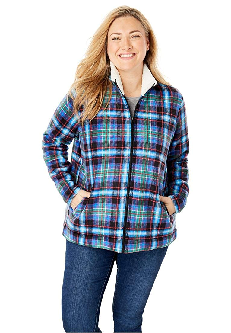 9bd204eae923 Woman Within Plus Size Sherpa-Lined Printed Microfleece Jacket ...
