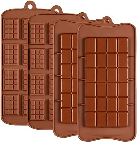 Gobesty Moldes de chocolate de silicona, 4 piezas Los moldes de chocolate se separan Proteína de caramelo antiadherente y molde de barra de energía ...