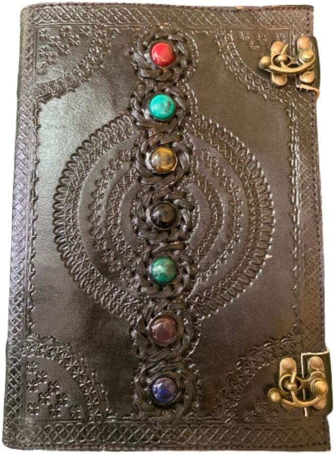 Leather Journal Book Seven Chakra Medieval Stone Embossed Handmade Book of Shadows Notebook Office Diary College Book Poetry Book Sketch Book 10 x 7 Inches (Black)