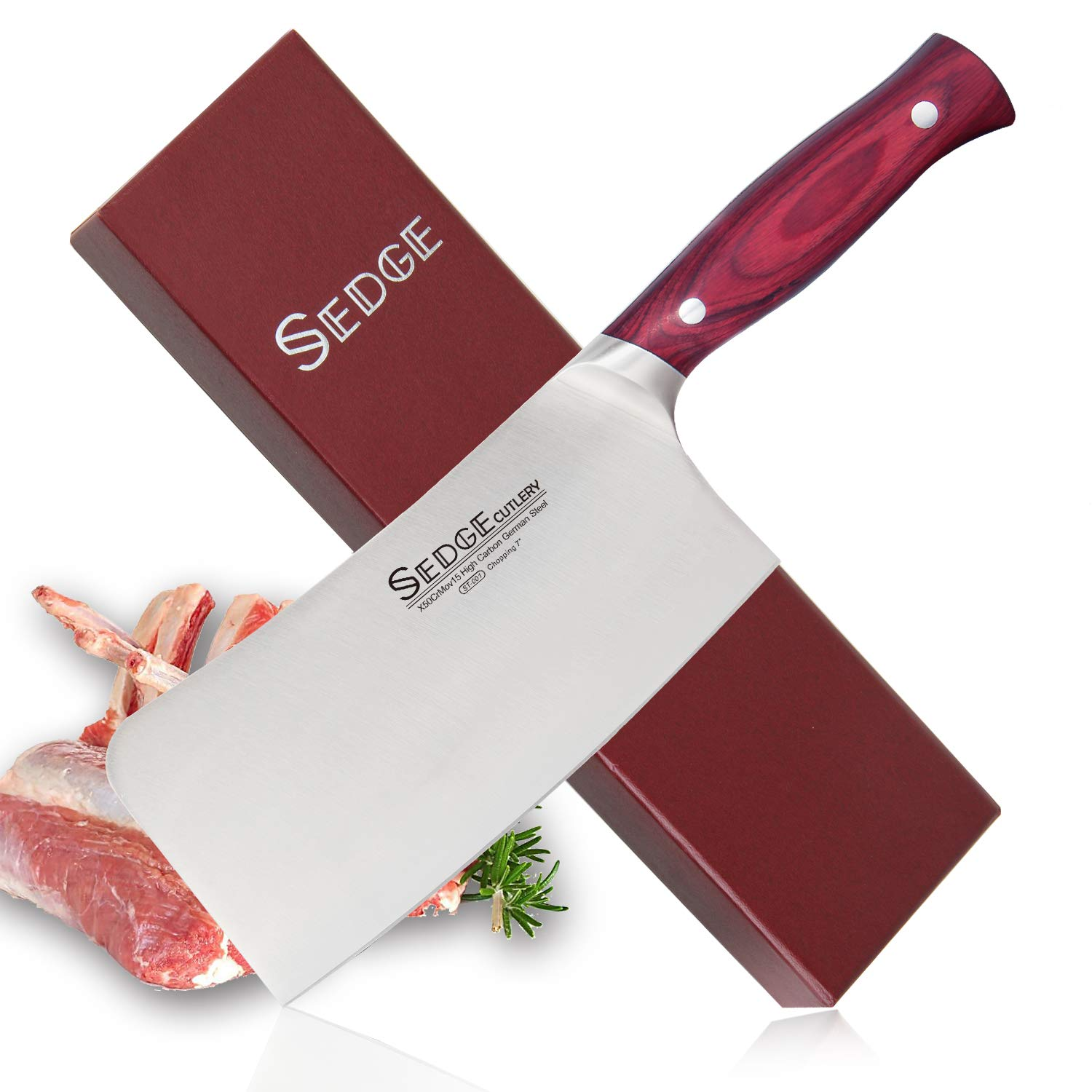 Sedge Chopping Knife 7 Inch Kitchen Heavy Duty Butcher Restaurant Cooking High Carbon German Stainless Steel with Ergonomic Pakkawood Handle Gift Boxed - ST Series
