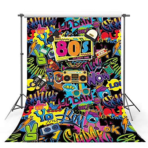 MEHOFOTO Hip Hop Back to 80s Themed Adult Birthday Party Decorations Banner Photo Studio Booth Background Graffiti Disco Personalized Portrait Backdrops for Photography 7x5ft]()