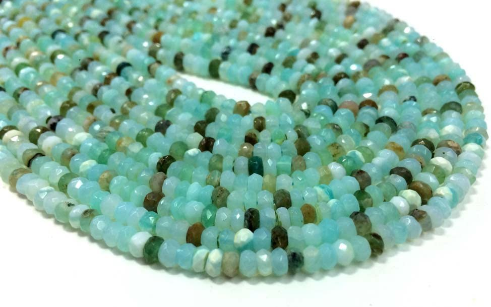 Natural Gemstone Peruvian Green Opal Faceted 8 to 9MM Size Rondelle Beads Necklace 17.5 Inch Full Strand Very Rare Gem Beads