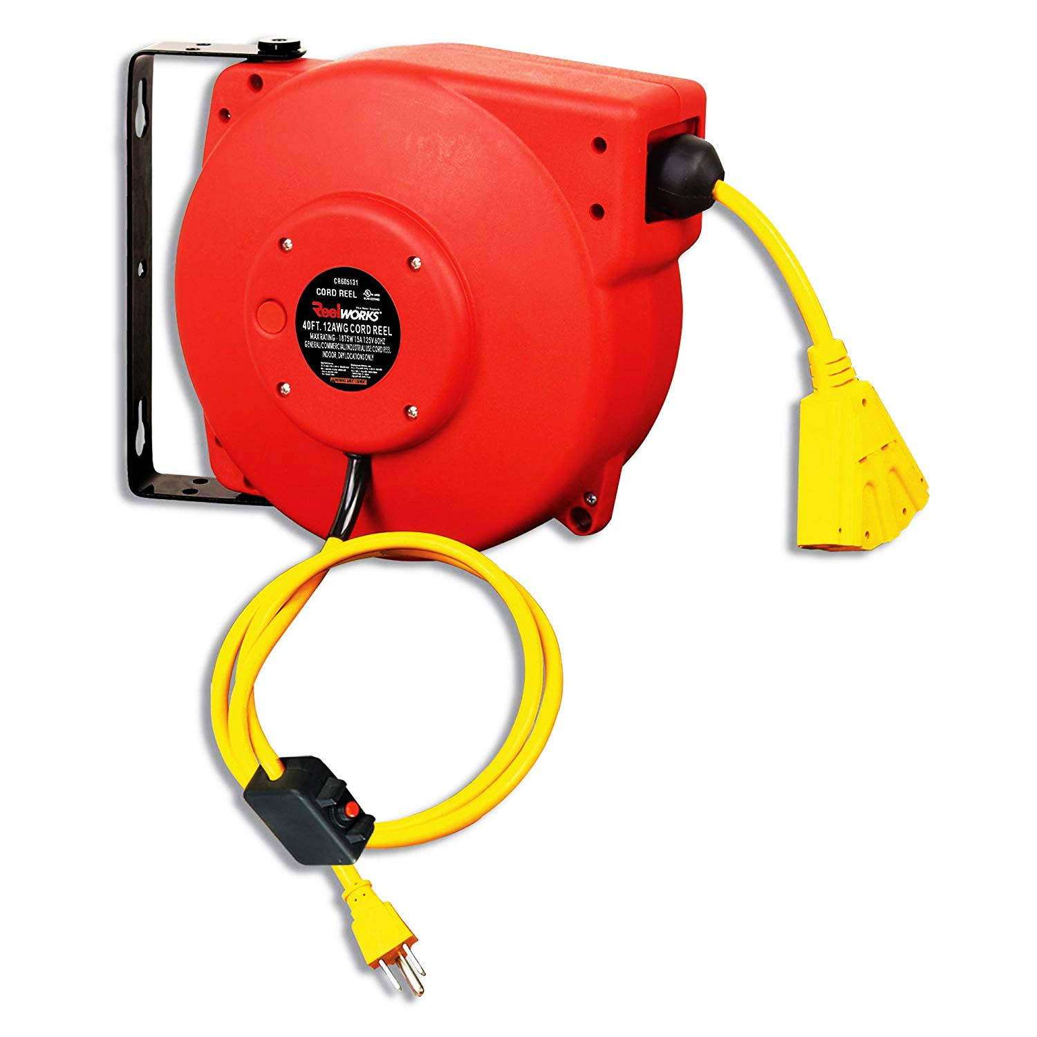REELWORKS Retractable Extension Cord Reel Polypropylene Industrial 12AWG x 40' Feet Commercial Grade 3C SJT Cable with Triple Tap Connector 15A 125VAC 1875W 60Hz Circuit Breaker Best for Indoor Use by ReelWorks