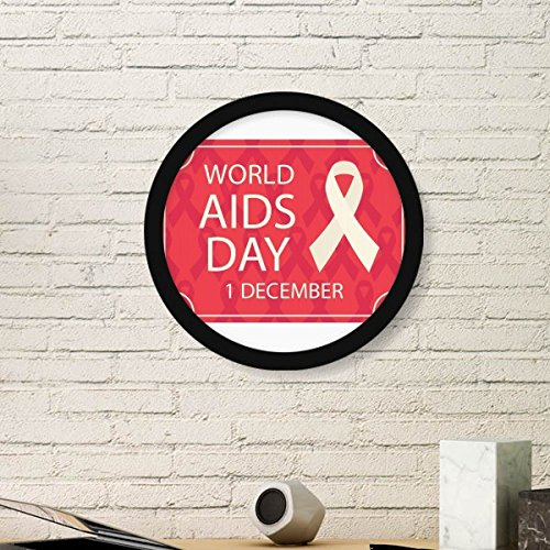 (DIYthinker Solidarity Symbol World AIDS Day 1st December Red Ribbon HIV Awareness Round Simple Picture Frame Art Prints of Paintings Home Wall)