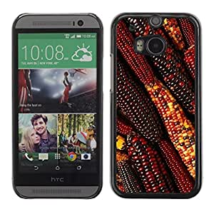 Soft Silicone Rubber Case Hard Cover Protective Accessory Compatible with HTC ONE? M8 2014 - autumn summer farming field red