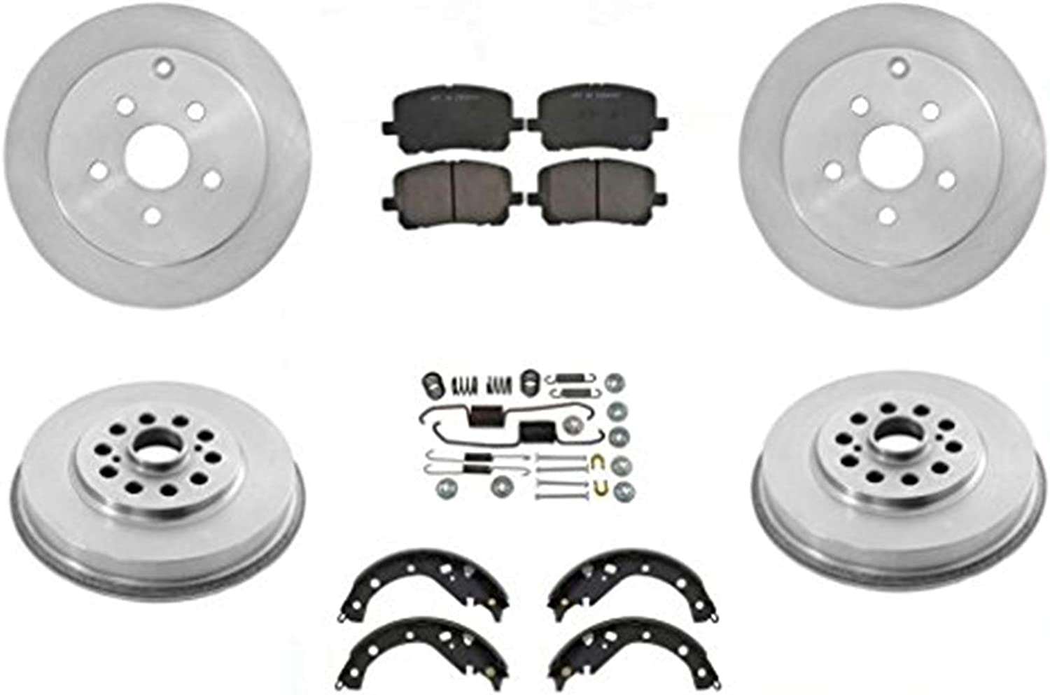 Aveo Without ABS 2 Brake Drum With Rear Bearings /& Brake Shoes Rotors Pads 7Pc