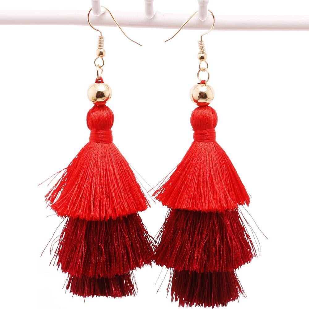 ''Barcelona Beats'' Tassel Earrings - Red