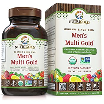 Organic Whole Food Multivitamin - Men's Multi Gold - 90 Veggie Capsules, NutriGold Whole-food Vitamins and Supplements with Minerals and Co-Factors for Superior Absorption and No Unpleasant Aftertaste (Without Iron For Men) Food-Based, Gentle, Non-GMO, and No Synthetic Vitamin Isolates