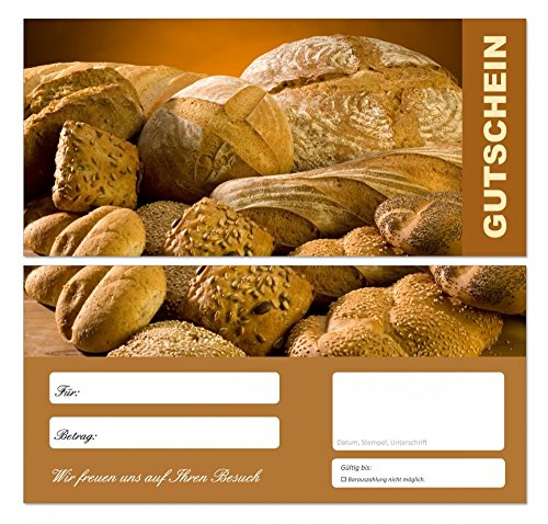 7cf1066c47 50 Stück Premium Geschenkgutscheine (Bäcker-668) - Ein schönes Produkt für  Ihre Kunden Brot Brötchen Semmeln Gutscheine Gutscheinkarten für Bereiche  wie ...