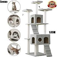 Cat Tree Tower Cat Tree House Cat Tree Condo Cat Scratcher 6.07 ft (185cm) Wood Rattan Pet Supplies with 3 Versatile…