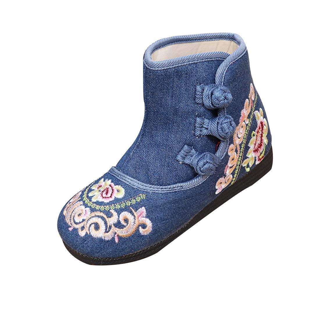 Inlefen Girls Embroidered Boot Tendon Bottom Buckle Strap Cotton Short Boot