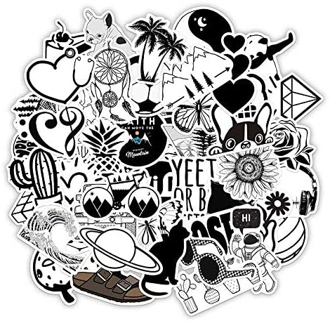 Cute VSCO Stickers Laptop Stickers Water Bottle Stickers Luggage Decal Graffiti Patches Skateboard Stickers No-Duplicate Sticker for Kids Teens Girls 50 Pcs Black /& White Style