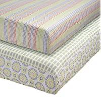 Stork Craft Pattern Play 2 Piece Fitted Crib Sheets, Green/Gray
