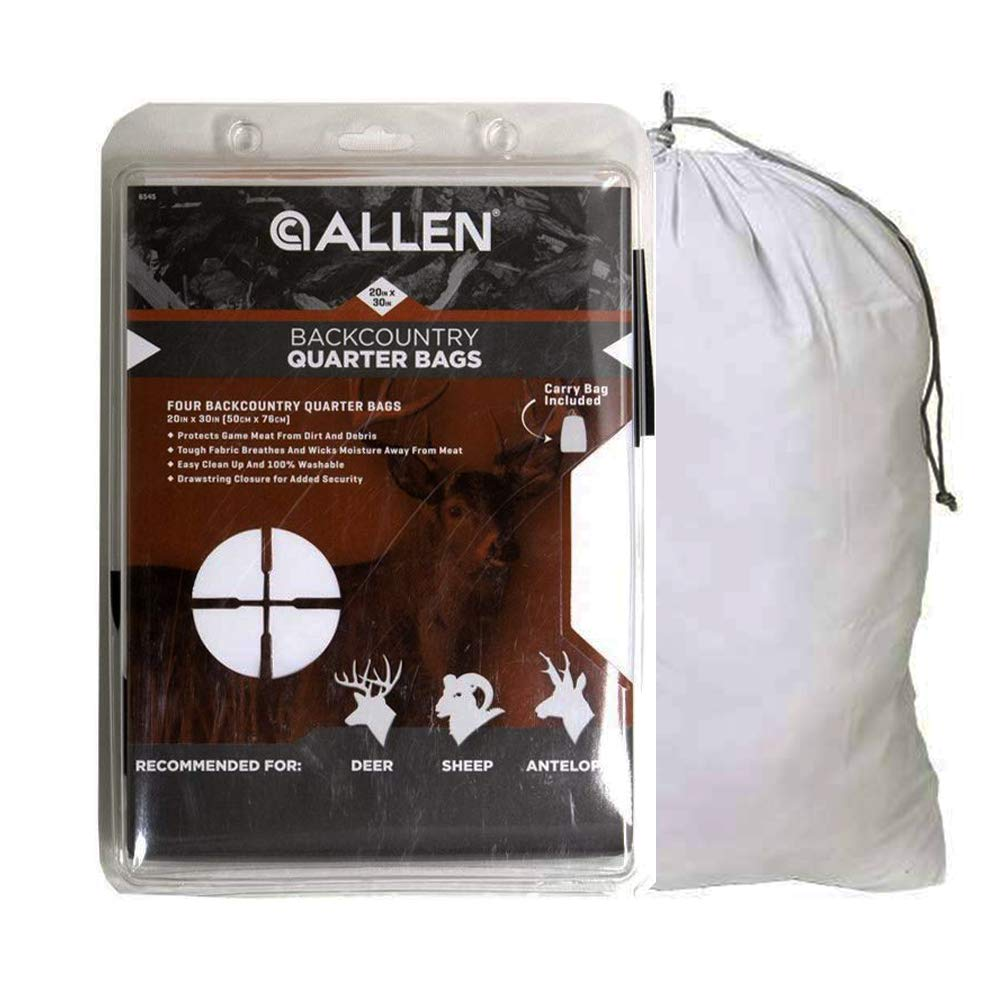 Allen Company Ale Meat Bags for Hunting - 4-Pack, Heavy Duty, Reusable, Drawstring, 2-Sizes (Limited Edition) by Allen Company
