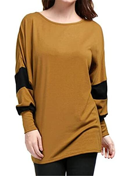 Aoliait Moda Mujer Manga Larga Empalme De Color Blusas Stitch T-Shirts Casual Suelto De Gran Tamaño De Punto Cuello Redondo Pulover Hipster Knitted Tops: ...