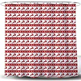 Red White Christmas Shower Curtain, Xmas Modern Striped Geometric Snowflake Reindeer Fabric Bathroom Decoration, Christmas Polyester Fabric Shower Curtain Red White, Hooks Included, 72 inch Long,