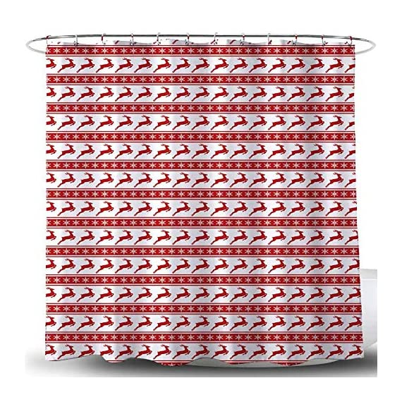 BROSHAN Christmas Shower Curtain Red and White, Modern Striped Snowflake Deer Holiday Bathroom Curtain, Merry Christmas Fabric Bathroom Decor Set with Hooks, 72 x 72 inch -  - shower-curtains, bathroom-linens, bathroom - 619oB9635JL. SS570  -