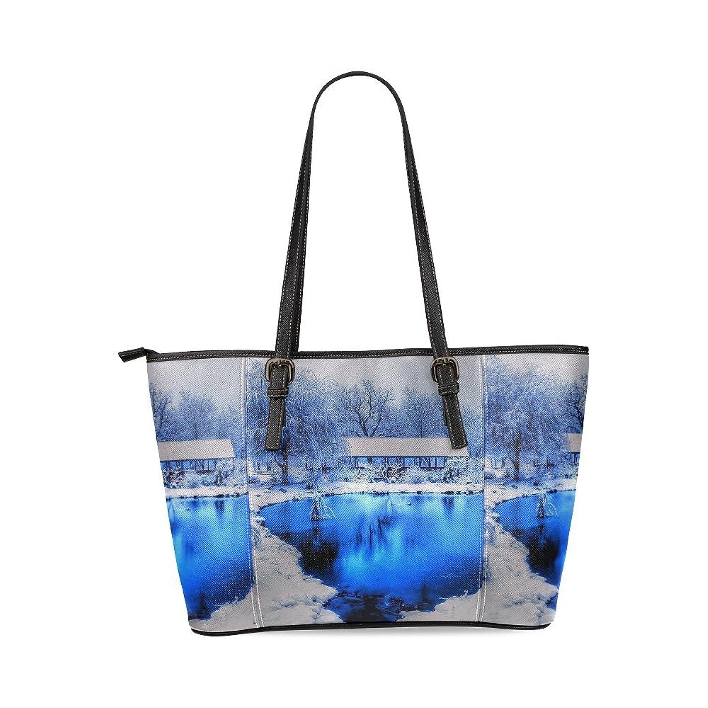 Beautiful Landscape Custom PU Leather Large Tote Bag/Handbag/Shoulder Bag for Fashion Women /Girls