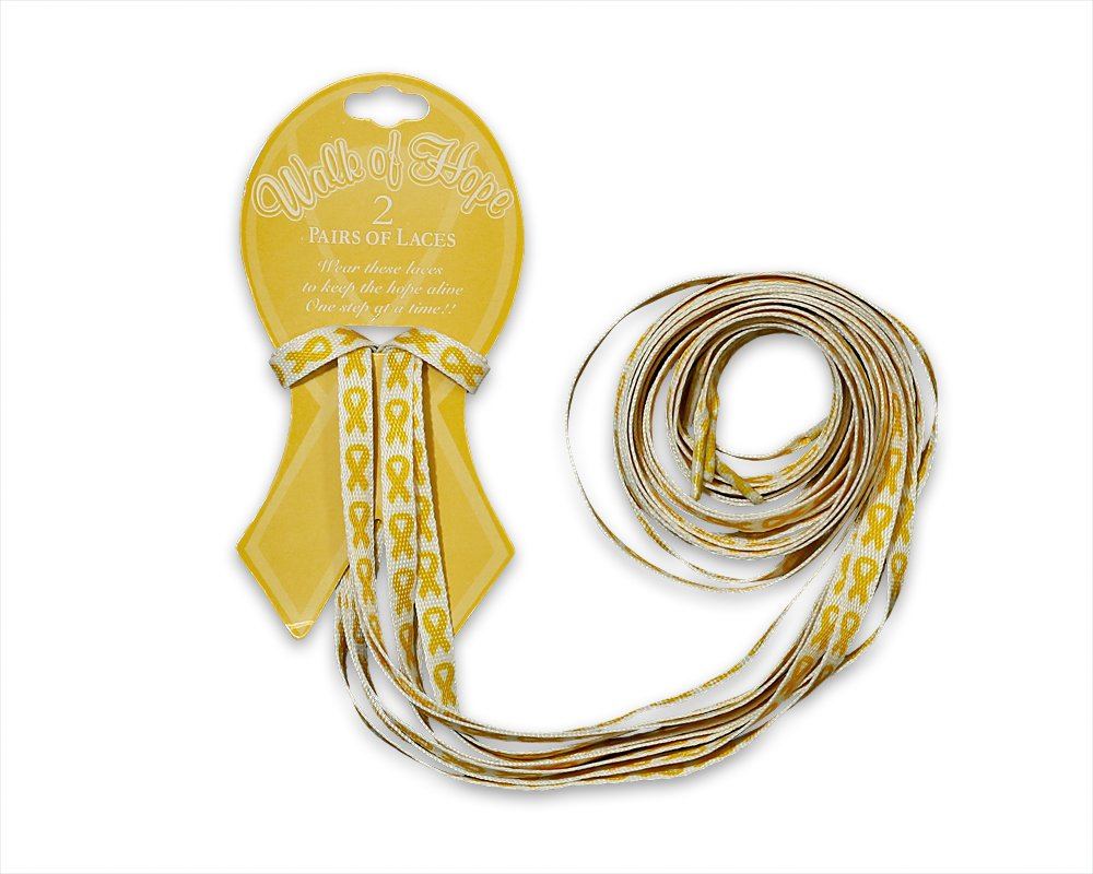 Gold Ribbon Awareness Shoe Laces (Wholesale Pack - 25 Cards, 2 Pairs on Each Card)