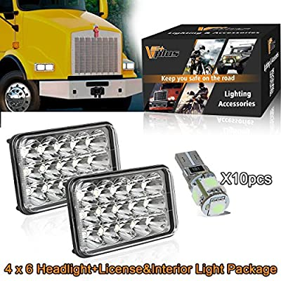 (12 Pcs) 4x6 Inch LED Headlights Rectangular Replacement H4651 H4652 H4656 H4666 H6545 with Ice Blue Side Cab Marker Interior Lights for Peterbil Kenworth Freightinger Chevrolet Oldsmobile Cutlass