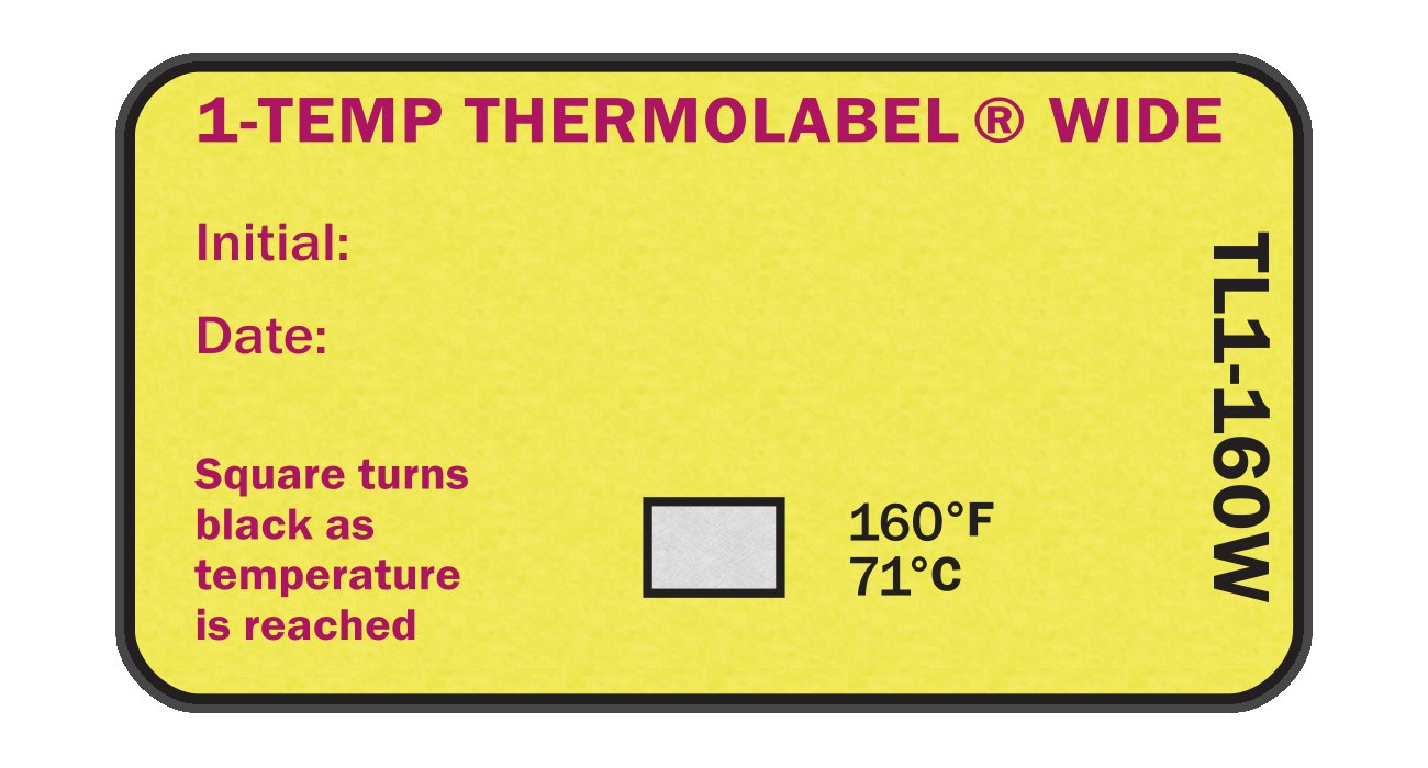 1-Temp Thermolabel Wide 160°F/71°C Temperature Label for Dishwashers Pack of 16 Labels