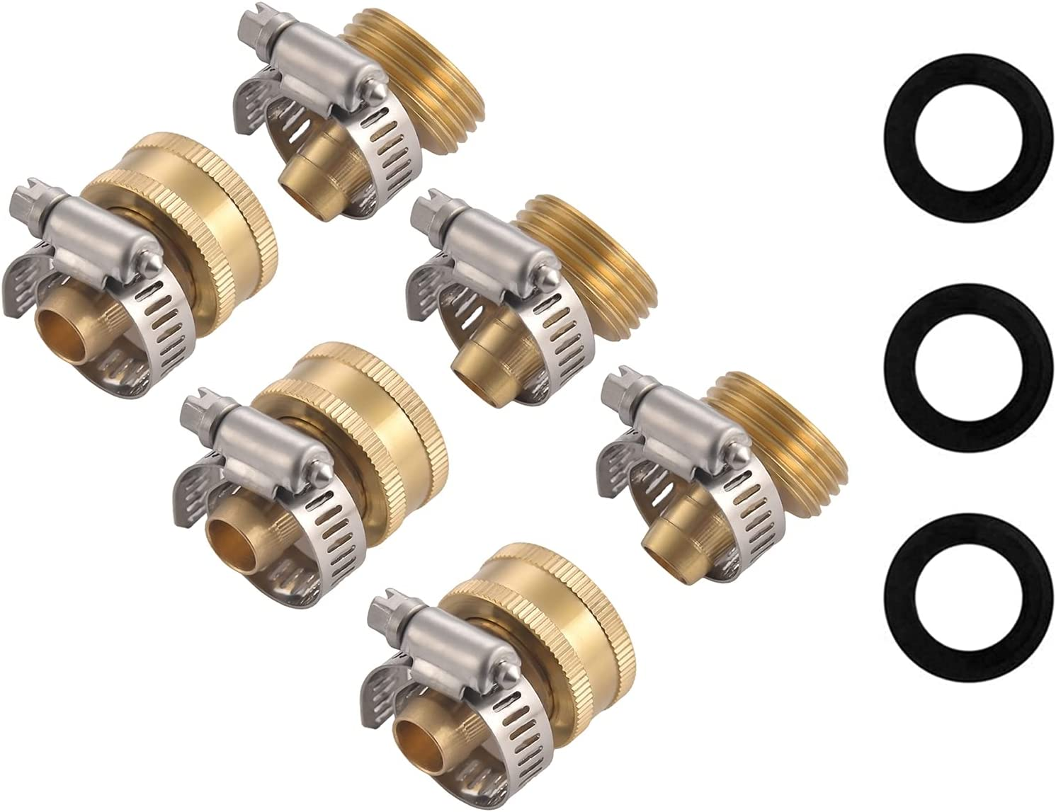 carvedexquisitely Garden Hose Repair Connector with Stainless Steel Clamps,5/8