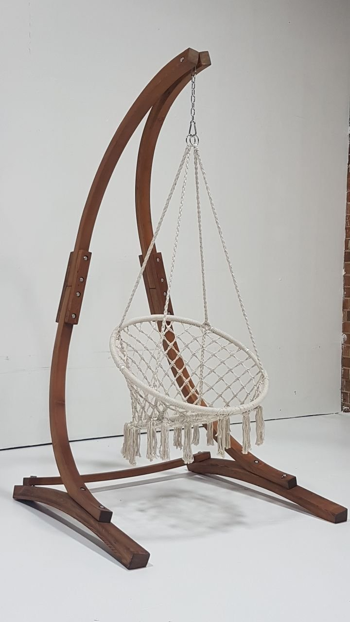 Petra Leisure 7 Ft. Teak Stain Hammock Chair Stand w/ Bohemian Chic Macrame Dream-Catcher Tassel Rope Swing. Perfect for Indoor/Outdoor Home, Patio, Deck, Yard, Garden. 265LB Weight Capacity.