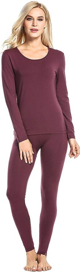 Ekouaer Underwear Set Women Comfort Thermal Slim Fit Top & Bottom (Wine Red, Large)