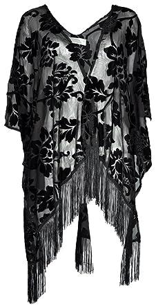 b94651a776 Amazing Grace Elephant Co Women's Vintiage Burnout Velvet Kimono Cardigan  Floral Series (Black Midnight Garden