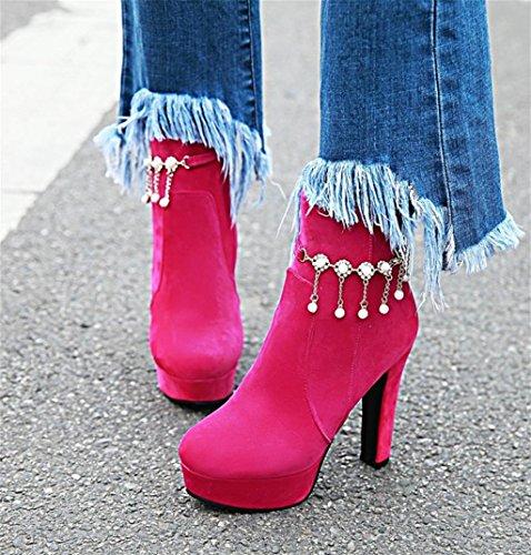 Personalidad de Bomba Red del Stiletto HETAO de Correa Rose Mujer Plataforma Tacones Tobillo Botas la Fiesta Vestido Plataforma de Heel la Moda para de Botas Pearl 5Ew4pZqvw